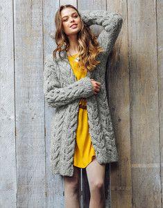 Modèle à tricoter gratuit Gilet long Femme Laine Katia Coton ... 77ddc6d44ef0