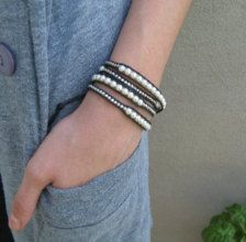 Pearl and Silver Nugget Leather wrapped bracelet