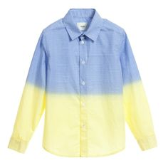 Fendi Boys Blue & Yellow Cotton 'FF' Shirt  at Childrensalon.com