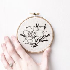 New black work wildflower embroidery piece now in store! Loving this style!