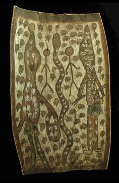 Aboriginal Bark Painting...This eeiry Bark is by Ignatia Djangara one of the old masters of Kimberley art. The painting represents two important mythological women of the wagilag legend and the rainbow serpent. It would date to the late 1960's and measures 48 X 29 cm.