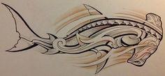 Croquis pour Tattoo d'un Modèle de Requin Marteau de Dessin Polynésien Maori pour l'homme
