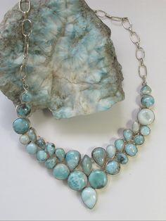 Large Larimar Necklace 3 #larimar #necklace #silver