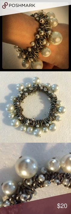 Pearl Metal Statement Bracelet Very cool faux pearl and chain bracelet.  Heavy weight.  A beautiful statement piece! Jewelry Bracelets
