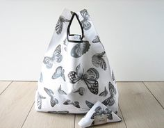 butterfly tote bag / romantic shopping bag / white printed cotton shopper / elegant bag / triangle fold bag / edge in black ribbon