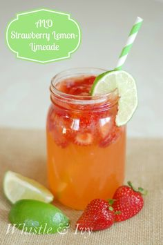 This delicious strawberry lemon-limeade is so refreshing and full of flavor, a perfect drink recipe for summertime. {Whistle and Ivy}