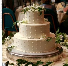 wedding cakes york pa | ... , Swiss dots and white dendrobium orchids decorated the wedding cake