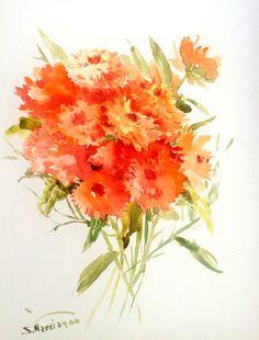 Calendulas original watercolor painting1 2 X 9 in by ORIGINALONLY