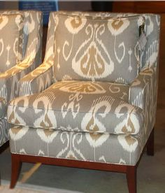 Toss Pillows for family room couches (spa blue background instead of grey) Chair Fabric, Ikat Fabric, Drapery Fabric, Home Textile, Textile House, Upholstered Chairs, Arm Chairs, New Living Room, Home Decor Fabric