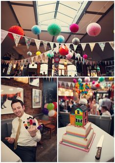 This a cute and colourful wedding of Anna and Tom who were inspired by the and also the Pixar film 'Up' for their Stoke Newington wedding. Wedding Blog, Wedding Events, Wedding Reception, Wedding Planner, Wedding Ideas, Tissue Paper Ball, Tissue Balls, Paper Balls, London Bride