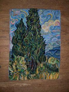 Hand hooked Van Gogh Cedars