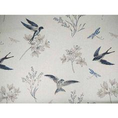 Swallow on linen cotton tapestry fabric <br />We recommend a sample of this fabric if colour is important to you as colours on different screens may vary.