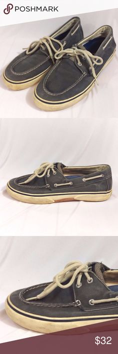 """Sperry Top Sider Boat Shoes Light Blue Nautical Sperry Top-Sider in Nautical Blue   Mens Size 10M - Fits very true to size.  Soles measure approx. 11-3/4"""" long by 4"""" wide   In good condition. Obvious signs of use around edges of soles, however they are not worn down. Aglets are slightly split on ends. Shoes are free of odor and smoke and have plenty of life left in them. Sperry Shoes Boat Shoes"""