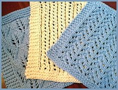 There are 3 beautiful lacy dishcloth patterns included in these patterns. There are all knitted in with 41 stitches.