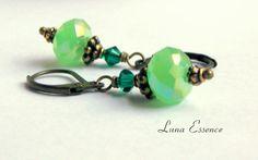 Sold Holiday Fashion Green Emerald Peridot Drop Brass by LunaEssence, $23.95
