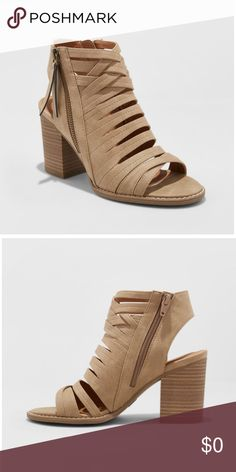 6654c08596b5 NWT Microsuede Open Toe Heeled Pump-Taupe Sold out in stores Universal  Thread 3in block-heel sandals complement your warm-weather styles  Horizontal slits in ...