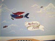 Fun boy's room airplane mural