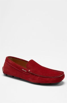 Red Prada suede driving shoe.