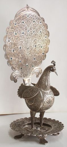 Sterling Silver Filigree Peacock Table Ornament, Bird Figure Statue.