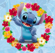 It's Stitch! He obviously looks a tad younger here in this photo, but he's STILL adorable! xoxo Lilo Pelekai and Stitch Pelekai Stitch-Looking Cute Lilo And Stitch Flower, Lilo And Stitch 2002, Lilo And Stitch Quotes, Lilo Y Stitch, Stitch And Angel, Cute Stitch, Arte Disney, Disney Love, Disney Drawings