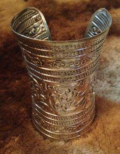 Wide Cuff Bracelet boho gypsy hippy belly dance tribal in Gold or Silver alloy