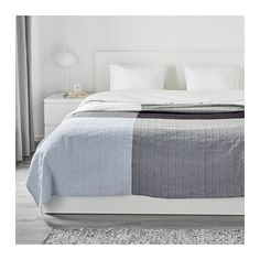 "IKEA - ÄNGSTÖREL, Bedspread, 98x98 "", , The soft, shifting colors are created by the dyed yarn used to weave this bedspread.The thicker threads woven into the cotton fabric give this bedspread a lively texture."