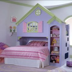 Dollhouse Bed -  bed upstairs (behind window) and bed downstairs