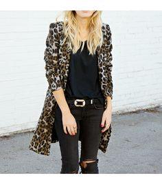 @Alexandra M What Wear - Thefashionsight is wearing: BB Dakota coat, Rag & Bone jeans, Gorjana necklace.  Get The Look:  Pixie Market Leopard Faux Fur Coat ($196)  See more ways to wear leopard coats on Pose.com.