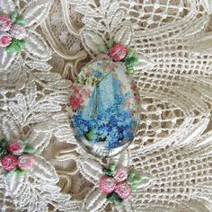 Antique Boat Floral 30X40mm Glitter Unset Handmade Art Bubble Cameo Cabochon #Handmade #Cameo