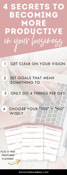 4 Secrets to Becoming More Productive in Your Business - Do you ever get so overwhelmed with your business that you don't even know what to do next? Here are 4 steps to becoming more productive. Business Entrepreneur, Business Marketing, Content Marketing, Online Marketing, Digital Marketing, Business Planning, Business Tips, Online Business, Business Goals