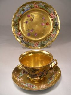 GILT ENAMELED CAPODIMONTE CUP SAUCER PLATE