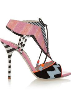 Sophia Webster Leilou Stripe leather, suede and canvas sandals | NET-A-PORTER