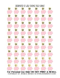 Free Printable 52 Week Savings Piggy Banks Stickers for your planner Free Planner, Planner Pages, Happy Planner, Planner Ideas, Planner Supplies, Routine Planner, Ideas Para Organizar, Printable Planner Stickers, Free Printables