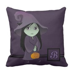 A Goth Witch Throw Pillow - halloween decor diy cyo personalize unique party