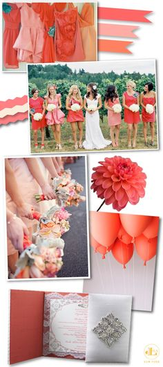 Corals & Peachy Pink wedding color inspiration board created by Lela New York pt. II
