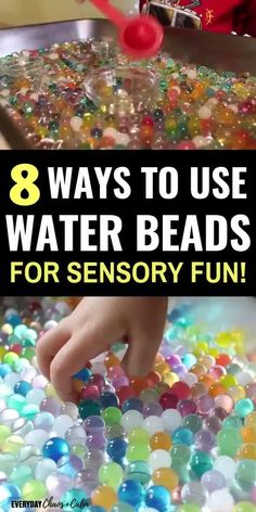 Give your child the ultimate sensory experience with water beads! Try out more than 8 water bead activities to keep your preschooler or toddler busy for hours! Toddler Sensory Bins, Sensory Games, Sensory Tubs, Toddler Play, Sensory Play Autism, Sensory Rooms, Toddler Stuff, Toddler Preschool, Summer Preschool Activities