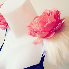 Ivory feather and coral peony epaulettes, feather epaulettes, feather and flower shoulder pieces, floral shoulder pieces, clip on epaulettes by feathersandthreaduk on Etsy