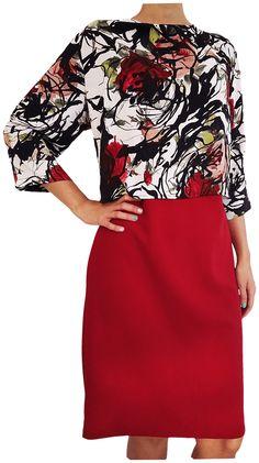 Vestido, con blusa simulada, (Combi relieve flor). Kenzzo modas