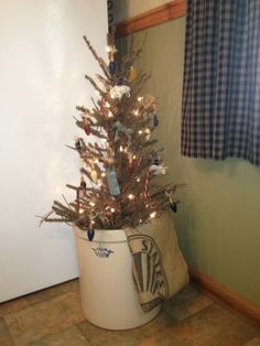 primitive christmas, antique, primitive decorations , german twig tree in crock, Holidays Design