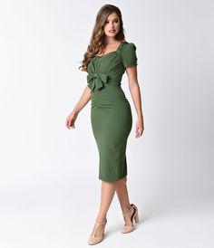Stop Staring Olive Green Short Sleeve Verde Wiggle Dress $174.00 AT vintagedancer.com
