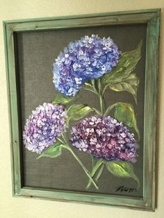 This beautiful 16x20 inch wood framed hydrangea painting is ready to bring beauty to any home  This can be hang indoor or outdoor of your home, I will personalize this piece however you wish – names, dates, bible verse, etc. to make this piece special for you or gift. I can also create a custom piece made to order just for you. If you have any questions or wish to inquire about ordering a custom piece, please email me.  Note – the watermark is not on the original artwork, for the website…