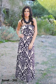 Like a Love Song Strapless Maxi - Black & Taupe Country Girl Boots, Country Girls, Strapless Maxi, Cute Boutiques, Lovely Dresses, Boutique Dresses, Tank Dress, Affordable Fashion, Amazing Women