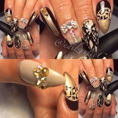 Burgundy Gold Cheetah Line Almond Stiletto Nails @nailsyulieg