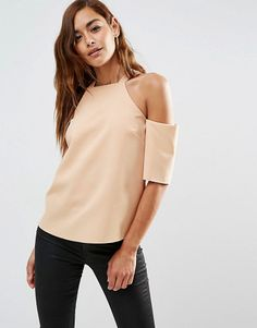 Crepe cold shoulder with high neck detail by Asos. Top by ASOS Collection Woven fabric Round neckline Off-the-shoulder design Button keyhole back Re...