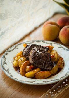 Kochen mit Herzchen - ♥ Mein Koch-Tagebuch mit viel Herz ♥: Taubenbrüste mit Pfirsichen