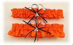 Orange Satin Wedding Garter Set with Jack O' Lantern by StarBridal