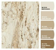 Countertops Formica River Gold with suggested Sherwin-WIlliams paint colors -