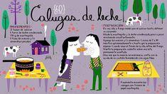 Cositas Ricas Ilustradas por Pati Aguilera: Calugas de leche Chilean Recipes, Chilean Food, Dulce Candy, Homemade Sweets, Vintage Drawing, Publication Design, Stevia, 4th Birthday, Cocktails