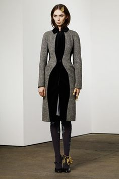 Thom Browne Pre-Fall 2014 Collection Slideshow on Style.com  Silhouette along with front cut away contrast got my attention.