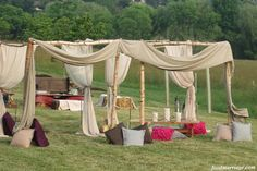 Food Marriage: Wedding Ideas: Outdoor Chic / Rustic Vintage Wedding Style.  Outdoor lounge area for cocktail hour!